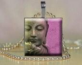 Buddha Pendant Jewelry, Glass Tile, Photo Pendant, Buddha Pendant