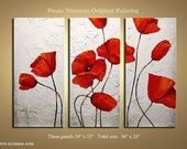 "Three Large Original  Poppies Paintings Against  Aged White Background texture Painting  from P. Nizamas 36"" by 24"""