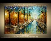 "Abstract  Landscape Painting   Bridge 36""x 24"" by  Nizamas | Landscape Painting | Oil, Acrylics, Canvas, Wood Stretchers, hardware  hanging."
