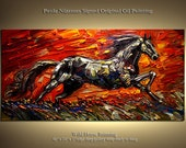ORIGINAL Abstract Modern Gallery Quality Wrap Painting Oil and Acrylic on canvas Stallion from Paula Nizamas