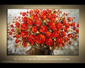 Original Modern  Palette Knife Textured Oil Painting Bouquet floral fine art by P. Nizamas 3FTx2FT