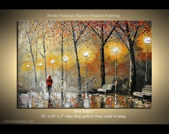 Oil Painting Abstract Landscape Red Jacket Painting on canvas, Wall decor Street Light ready to hang