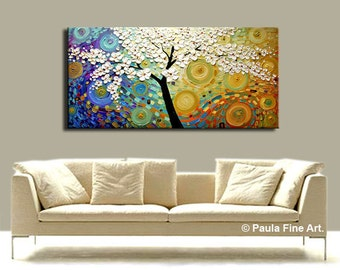 ORIGINAL Large Abstract Oil Landscape Painting White Flower Cherry Blossom Tree Palette Knife Mixed Media Textured Art Wall Decor by Paula
