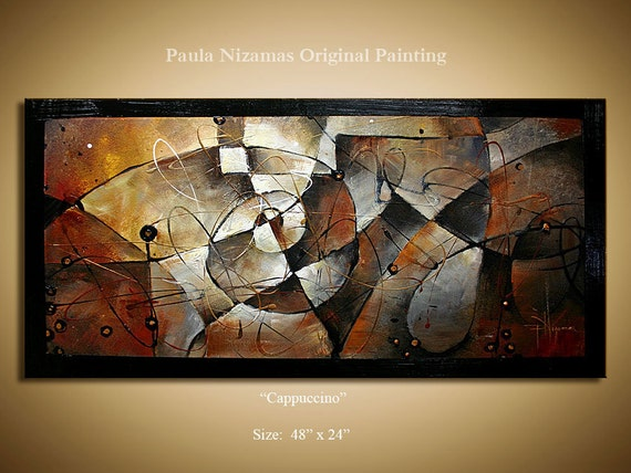 Original Abstract Modern Contemporary Painting by P. Nizamas , Rust, Black, Brown, Grey  Ready to Hang