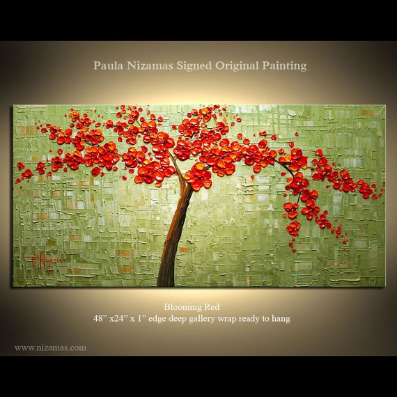 Original Modern Palette Knife Painting Blooming Cherry Red Ready to Hang by P. Nizamas Enormous Gallery Size