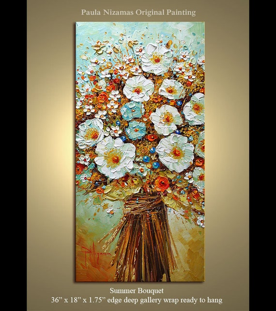 """Floral Original Modern Palette Knife textured Summer Bouquet  Oil painting  on framed canvas by P. Nizamas  36"""" by 24"""""""