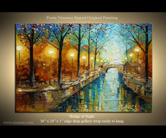 "Abstract Landscape Painting Bridge 36""x 24"" by Nizamas park art Oil Acrylics Canvas Wood Stretchers ready to hang"