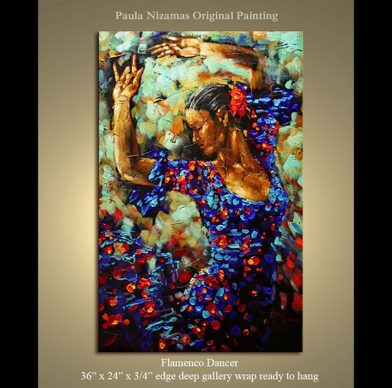 Reserved for Roussiat  - Flamenco Dancer Original texture Palette Knife painting on canvas ready to hang from P. Nizamas