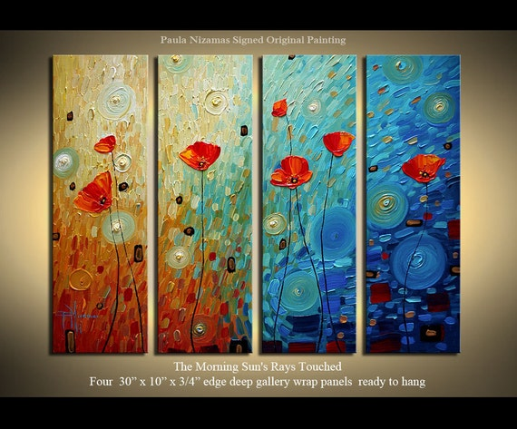 "Original  abstract contemporary Palette Knife Textured Thick Paint  floral fine art by P. Nizamas 30"" x 40"""