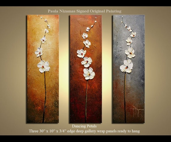 """Original abstract floral Dancing Petals contemporary Oil fine art by P. Nizamas three paintings 30"""" x 30"""" ready to hang"""