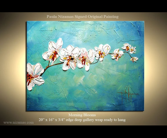 ORIGINAL Impressionist Palette Knife Oil Painting Texture Abstract Morning Blooms by Paula  Nizamas Ready to Hang