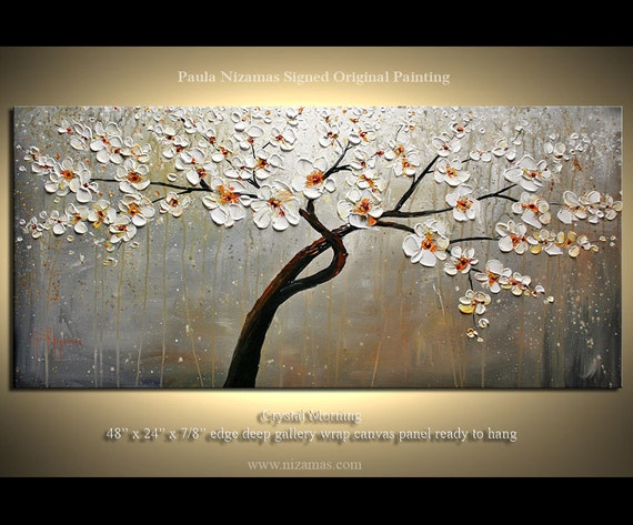 "Original Modern Palette Knife Painting on Canvas Crystal Morning by Paula Nizamas Earth Tones 48"" by 24"""