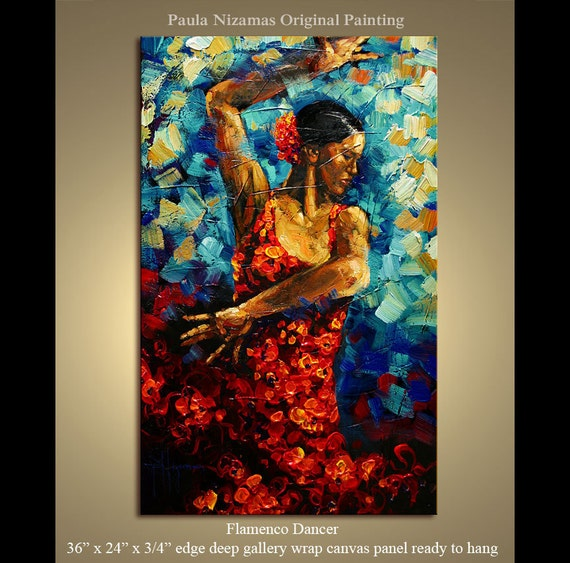 "Original Flamenco Dancer texture Palette Knife painting on canvas ready to hang from Paula  Nizamas 36"" x 24"""