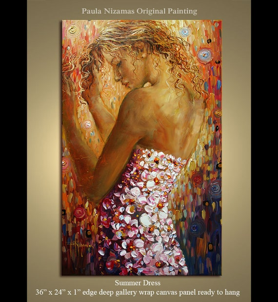 "Summer Dress Original Palette Knife painting on canvas panel ready to hang from Paula Nizamas 36"" x 24"""