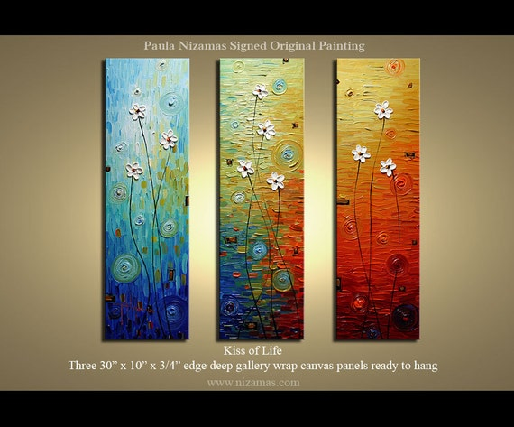 """Original  Modern Daisy Palette Knife Textured Thick Oil Painting  floral fine art by P. Nizamas 30""""x30"""""""