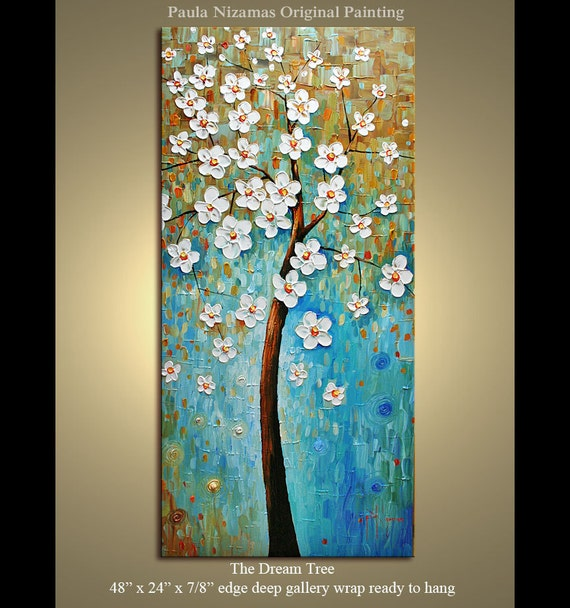 "Abstract Modern Canvas Gallery Quality Palette Knife  Impasto The Dream Tree Painting from P. Nizamas 48"" x 24"""