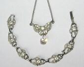 Vintage Bridal Set- Rhinestone Necklace and Bracelet