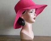 Vintage 1970s Hot Pink Floppy Wool Hat