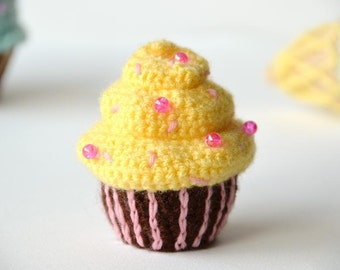 Banana Cupcake Crochet Pattern, Cupcake Amigurumi, Food Crochet Pattern, Food Amigurumi, Kawaii Pattern, Toy Food Crochet Pattern, Cupcakes