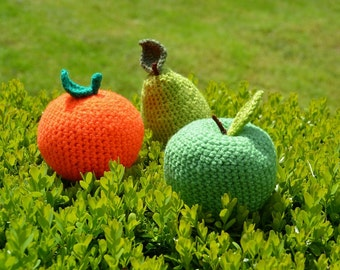 Apple, Pear and Orange Crochet Patterns, Fruit Crochet Pattern Set, Fruit Amigurumi, Apple Amigurumi, Pear Amigurumi, Orange Amigurumi