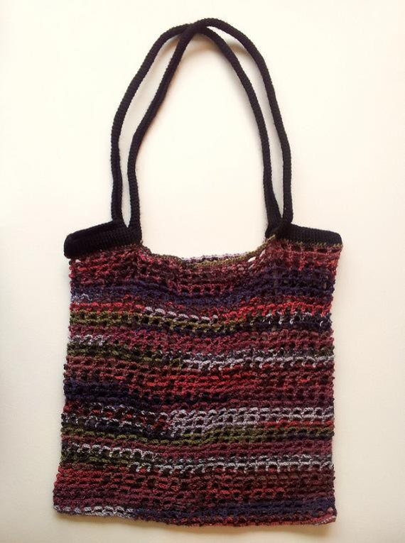 Grocery Bag Crochet Pattern, Tote Bag Crochet Pattern, Stretch Fabric ...