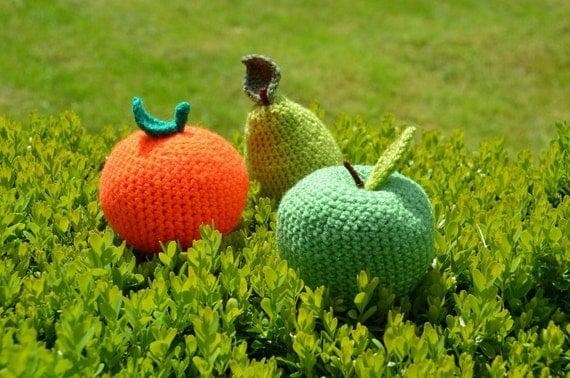 Apple, Pear and Orange Crochet Patterns, Fruit Crochet Pattern Set, Fruit Amigurumi, Apple Amigurumi, Pear Amigurumi, Orange Amigurumi