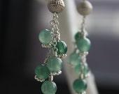 Pagoda Jade and Sterling Silver Drop Earrings