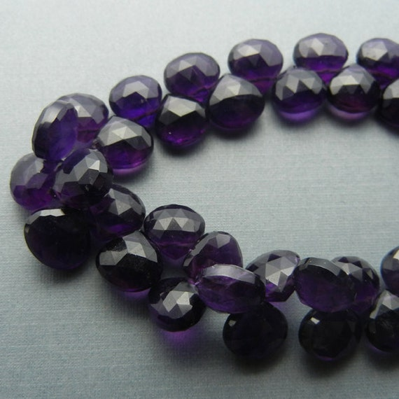 Purple Amethyst Faceted Flat Drops - Heart Briolette - 7x7mm to 9x9mm - 1/2 Strand - 23 Beads - Destash Gemstones