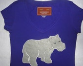 Hippo shirt fitted tee NWT- Large, Royal Blue