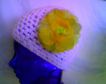 CLEARANCE ELEGANT Bright White Lacy Crocheted Beanie Skull Cap Cancer Cap with Detachable Yellow Rose Pin SML