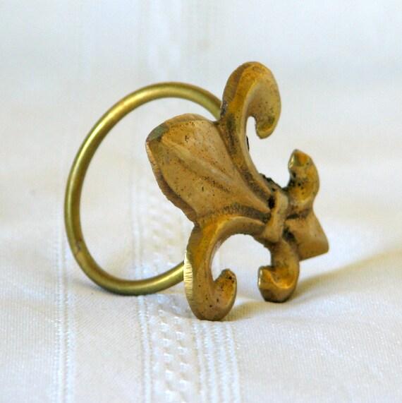 Fleur De Lis Brass Napkin Rings Set of 12