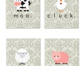 Set of 4 5x7 art prints: Shabby Chic Farm Animals (nursery/child's room)