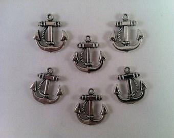 Anchor-6pcs Silver Tone Pendant
