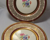 Set of 2 Edgerton Pickard Gilt Edged Floral Dinner Plates Chargers