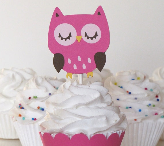 Owl Cupcake Toppers Set of 12  Owl Theme Owl Party