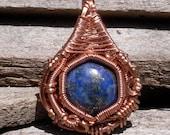 Lapis Lazuli in Copper Wire Wrapped Pendant Handmade