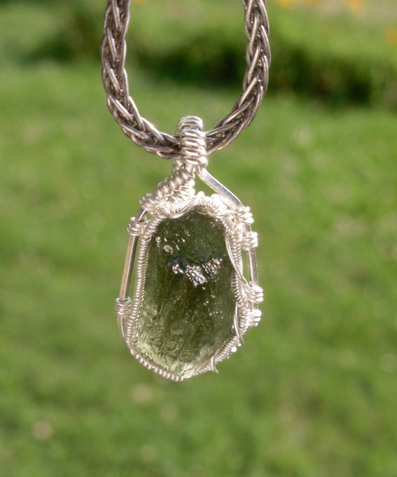 Moldavite Wire wrapped pendant .925 Sterling and .999 Fine Silver