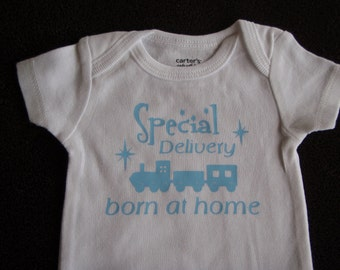 Boy Homebirth Receiving Bodysuit Newborn Special Delivery Born at Home Train Baby Boy home birth