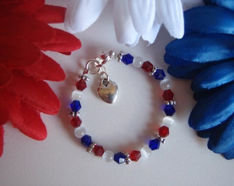 Beautiful Custom Baby Girls Patriotic 4th of July Independence Day Bracelet Swarovski Crystal, Tibetan spacers, Heart Charm