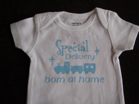 Boy Homebirth Receiving Bodysuit Newborn Special Delivery Born at Home Train Baby Boy home birth
