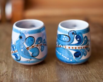 2 Neat Blue and White Bird Mugs from Mexico
