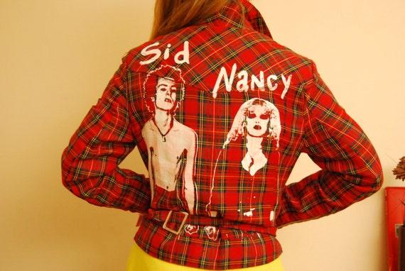 Sid And Nancy Tartan Jacket - Sex Pistols PUNK Screenprinted - Medium Size