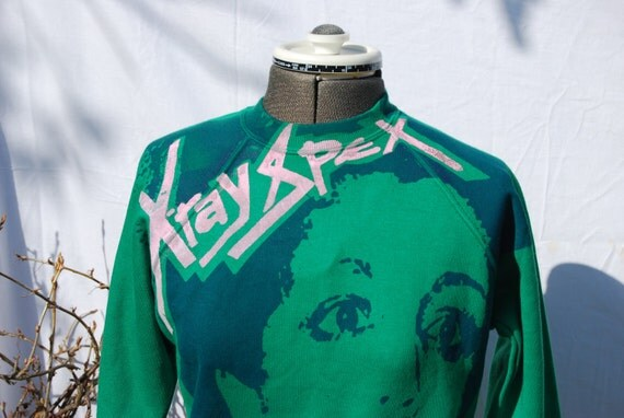 XRay Spex Sweater- Punk Screenprinted Jumper- Green Pink Blue - X Small