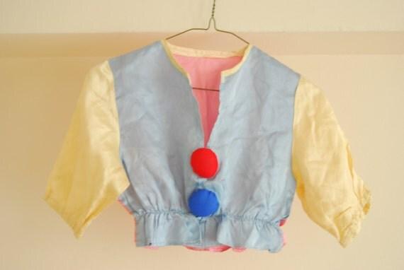 Vintage Clown Costume -Crop top XS or Childrens -Handmade Satin - Fancy Dress