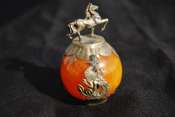 Reserved FOR RL ////////////////////////////////////////  Mysterious Pirate Treasure - Vintage Orb - Orange Ball Bronze Horse