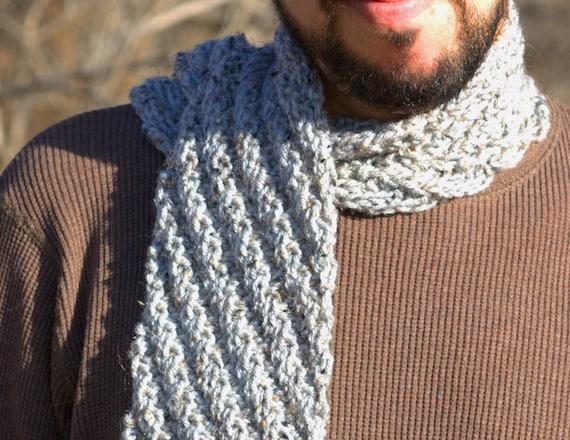 Grey Men's Scarf Hand Knit