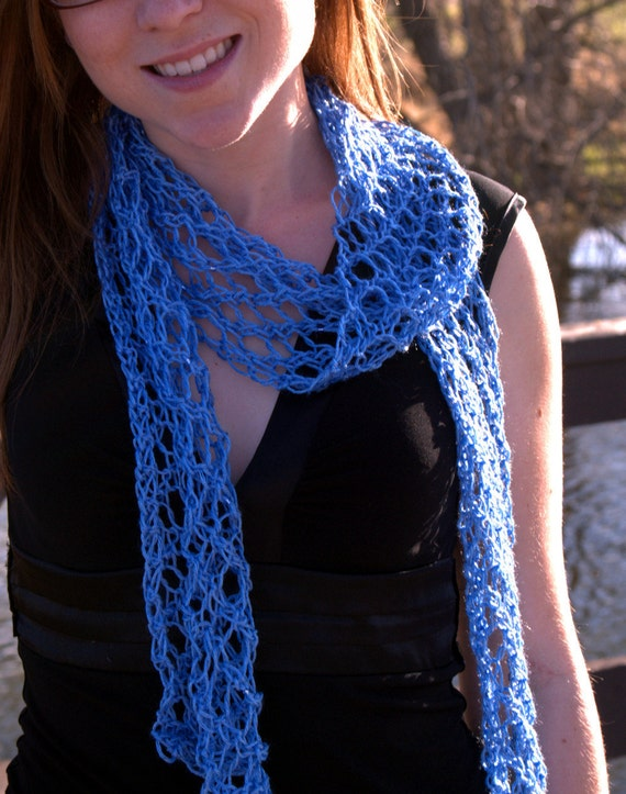 Sky Blue Beaded Net Lace Scarf - Spring Summer - Hand Knit