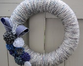 Yarn and Felt Front Door Wreath, WInter Wonderland/ 14 inch Wreath