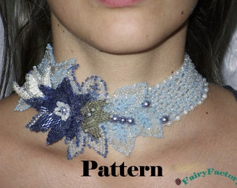 Pattern Necklace Choker Flowers in the snow, handmade seed beads jewelry
