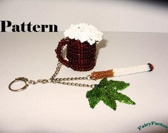 Pattern Trinket key - The Gentleman's Survival Kit - seed beads handmade